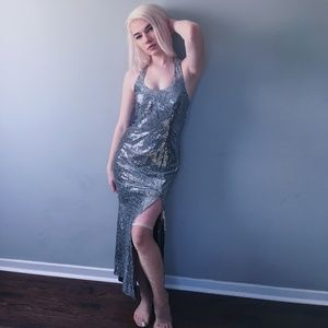 Vintage | 90s silver sexy slit prom dress gown vtg